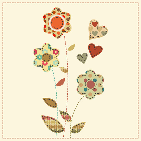 seams: Flower bouquet decorated by hearts. Cute cartoon vector illustration in a patchwork style with dark seams. Desaturated vintage colors.