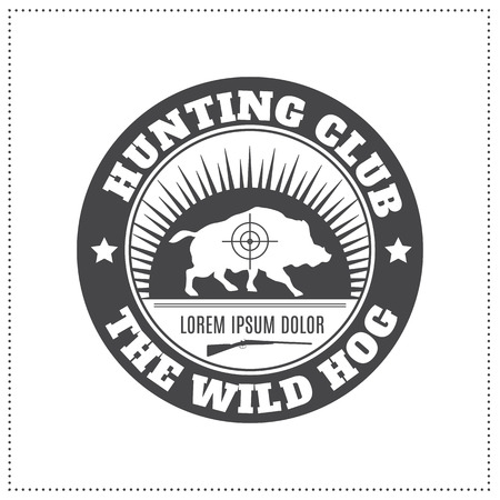 wild hog: Vector hunting club emblem with a wild hog silhouette. Black monochrome label on a white background (isolated). Editable colors