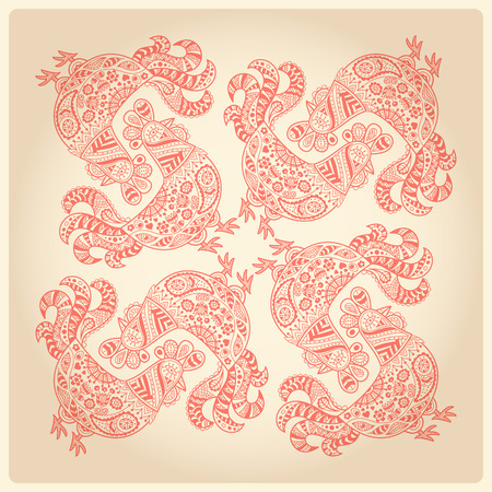 doodling: Colorful roosters in ornate ethnic style. Hand drawn vector ornament.  Square doodling design. Soft lovely palette (red, tan).