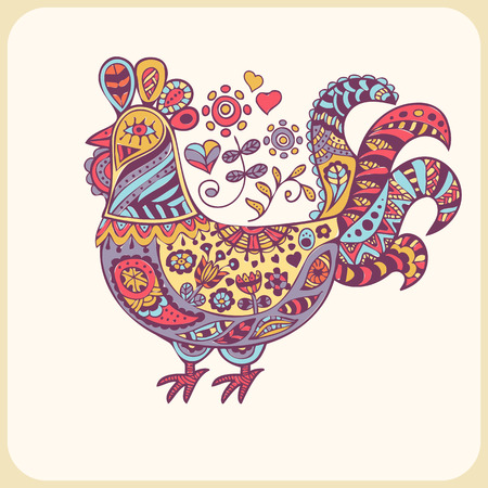 doodling: Colorful rooster in ornate ethnic style. Hand drawn vector illustration with a cute doodling design. Soft lovely palette (violet, blue, yellow, pink). Illustration