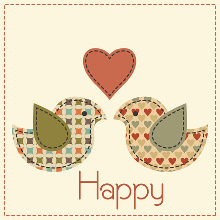 desaturated colors: Two enamored birds with a heart. Cute cartoon vector illustration in a patchwork style with dark seams. Desaturated vintage colors.