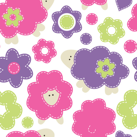 sewn: Vector seamless pattern with cute seep decorated by flowers.Cartoon childish pattern in bright fresh colors on white background. Hand-sewn style with white seams