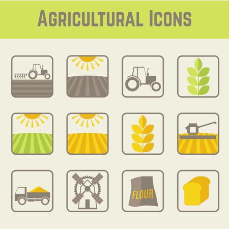 農業と農業のアイコン (穀物栽培の段階) のセットです。ミニマル (フラット) スタイル要素。柔らかな色 (ライト グリーン、イエロー、ブラウン)。