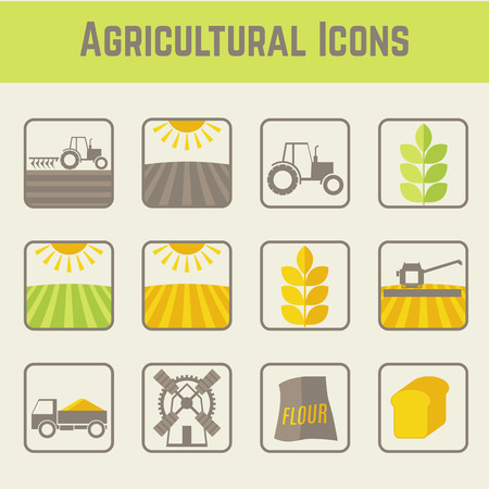 wheat fields: Set of agricultural and farming icons (stages of cereal cultivation) . Minimalistic (flat) style elements. Soft colors  (light green, yellow and brown). Illustration