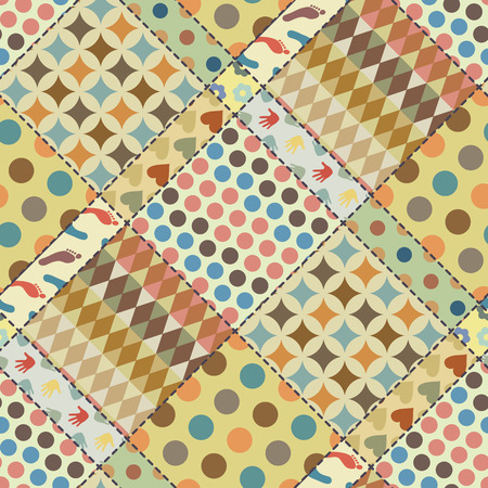 muted: Patchwork background (seamless texture) with different patterns. Muted vintage colors. Can be used as an imitation of  patchwork cloth for packaging, decoration etc.