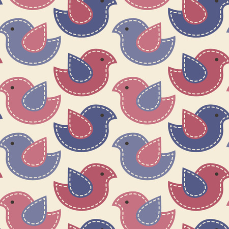 sewn: Vector seamless pattern -  little birds with light seams. Cute cartoon childish pattern. Soft desaturated colors (red, blue and light background)