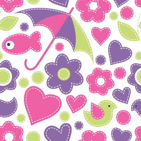 fresh colors: Vector seamless pattern with fish, umbrellas, birds, flowers and hearts.Cartoon childish texture in bright fresh colors on a white background. Hand-sewn style with white seams Illustration
