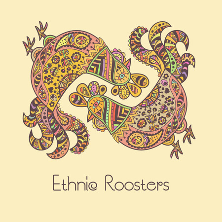 doodling: Colorful roosters in ornate ethnic style. Hand drawn vector illustration with a cute doodling design. Soft lovely palette.