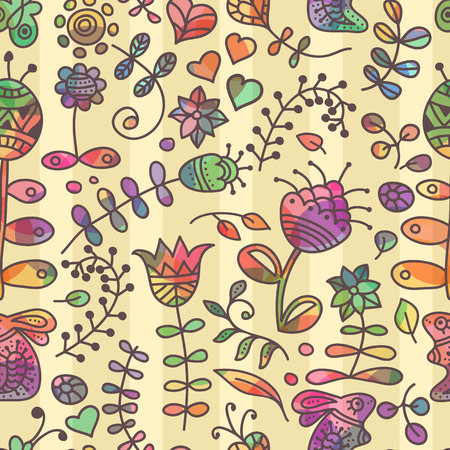 doodling: Vector seamless pattern with floral doodling design. Hand drawn flowers and branches. Cute background in primitive ethnic style. Bright colors