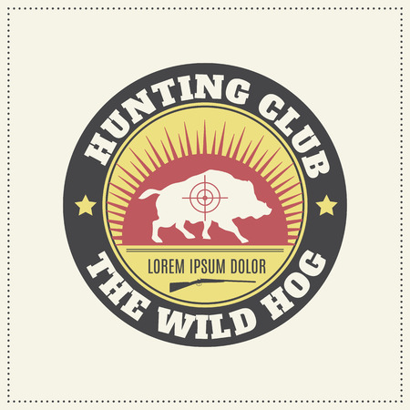 Vector hunting club emblem with a wild hog silhouette.  Desaturated vintage colors (red, yellow, black).