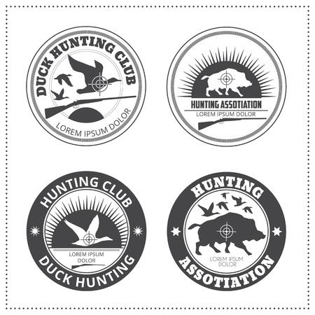 wild hog: Set of vector hunting club emblems with a wild hog  wild duck silhouette. Black monochrome labels on a white background (isolated). Editable colors