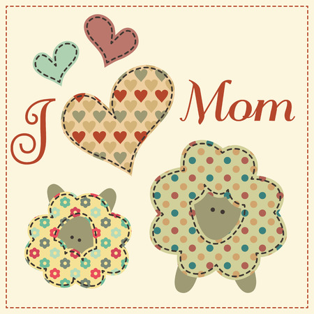 desaturated: Mother sheep with their little child decorated by hearts and text. Cute cartoon vector illustration in a patchwork style with dark seams. Desaturated vintage colors.