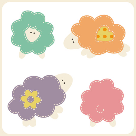 seams: Set of cute sheep in different views (front, back, side). Stylized applique with white seams. Childish vector design elements Illustration