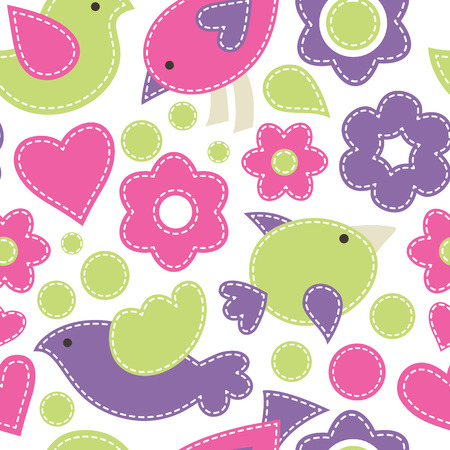 sewn: Vector seamless pattern with cute birds decorated by flowers and hearts.Cartoon childish texture in bright fresh colors on a white background. Hand-sewn style with white seams Illustration