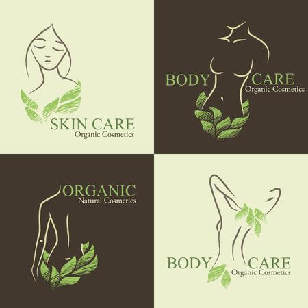 4 つの自然オーガニック化粧品エンブレムのセットです。凸凹のある女性の形状と緑の葉で飾られた顔と手描きのエコデザイン
