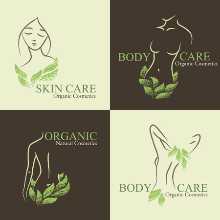 Set of four natural  organic cosmetics emblems. Handdrawn ecodesign with contoured womans shape and face decorated by green leaves