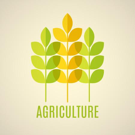 緑と黄色の穀物の耳を持つ農業のベクトル紋章。透明な要素。  イラスト・ベクター素材