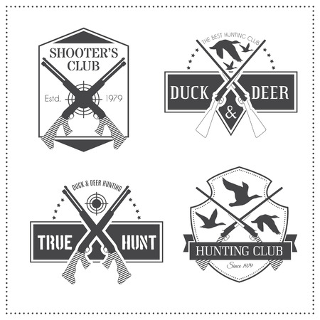 wildlife shooting: Set of 4 vintage hunting emblems with a shotgun (fowlung piece). Black monochrome labels on a white background (isolated). Editable colors Illustration