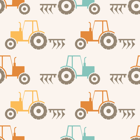 plow: Vector seamless pattern with a tractor and a plow (agricultural theme). Minimalistic design and harmonious colors (orange, turquoise, brown).