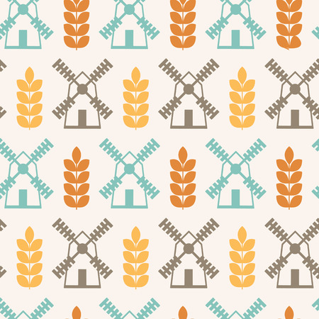 harmonious: Vector seamless pattern with ears of wheat and mills (agricultural theme). Minimalistic design and harmonious colors (orange, turquoise, brown).