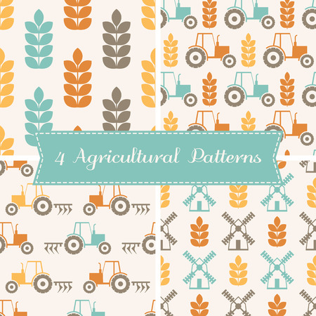 Set of 4 vector seamless patterns on agricultural theme (ears of wheat, tractor, plow, mill). Minimalistic design and harmonious colors (orange, turquoise, brown).