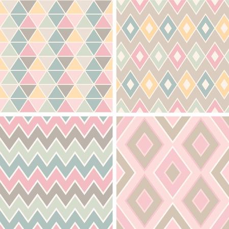 기하학적 로맨틱 패턴 (삼각형, 마름모, 지그재그 및 crankles)의 집합입니다. 밝은 파스텔 색상.