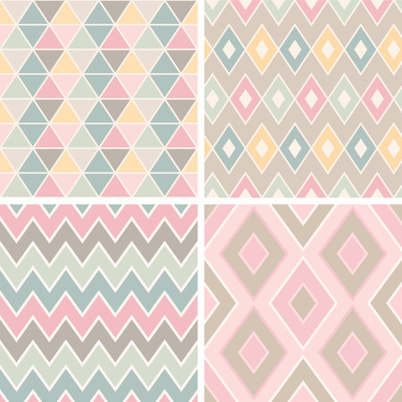 pink and brown background: Set of geometrical romantic patterns (triangles, rhombus, zigzags and crankles). Light pastel colors.
