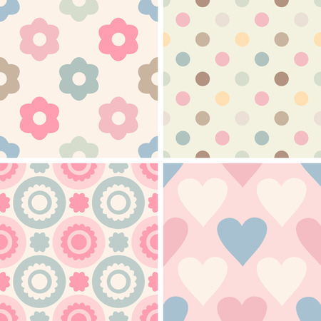 childrens wear: Set of simple romantic patterns (dots, geometric, flowers, hearts). Light pastel colors. Endless texture can be used for childrens wear, wallpaper, web background, wrapping, packaging etc. Illustration