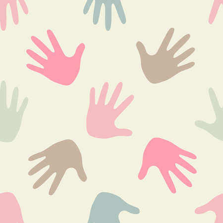 childrens wear: Simple romantic patterns (handprints). Light pastel colors. Endless texture can be used for childrens wear, wallpaper, web background, wrapping, packaging etc.