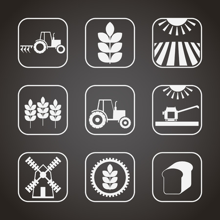 Set of 9 agricultural and farming icons (stages of cereal cultivation) . Minimalistic (flat) style elements. Monochrome (white on a black background)