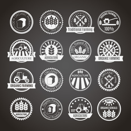 cultivation: Set of 16 agricultural and farming badges (cereal cultivation, organic farming and natural healthy food). Minimalistic design. Monochrome (white round badges on a black background) Illustration