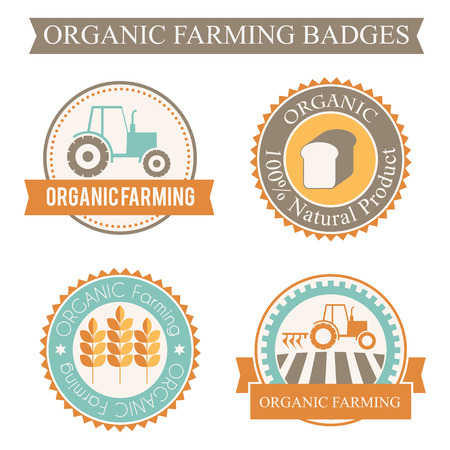 plow: Set of 4 agricultural and farming badges (cereal cultivation - organic farming and natural healthy food). Minimalistic design and harmonious colors (orange, turquoise, brown)