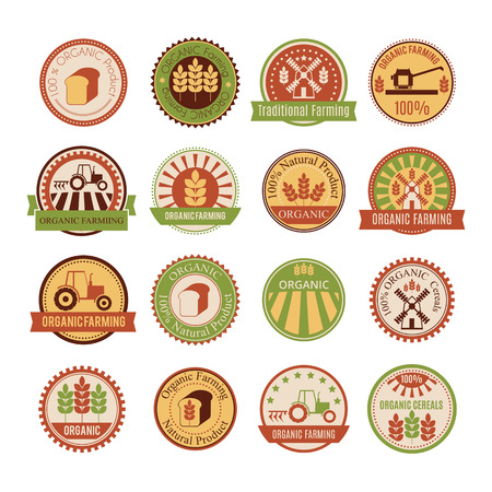 Set of 16 agricultural and farming badges (cereal cultivation - organic farming and natural healthy food). Minimalistic design and warm colors (green, yellow, brown, tan) Illustration