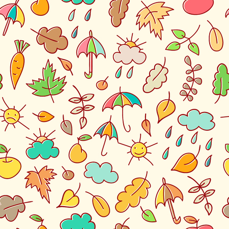 oats: Autumn simless pattern in a childish style (doodling).  Bright and happy colors. Endless texture can be used for childrens products, wrapping, packaging etc.