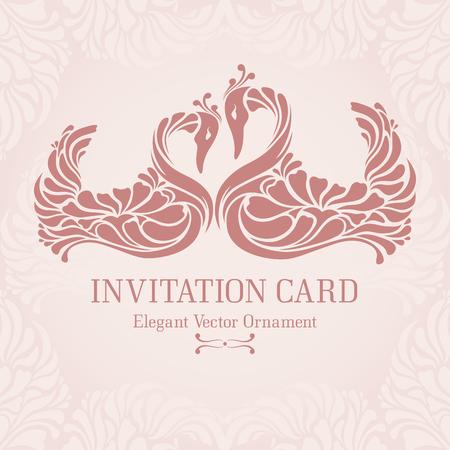 aniversario de boda: Plantilla en colores pastel de la vendimia con el marco decorativo y dos cisnes elegantes (aves rosadas de flexión de sus cuellos en forma de corazón). Diseño adornado de la invitación, tarjeta de felicitación, diseño de la boda Vectores