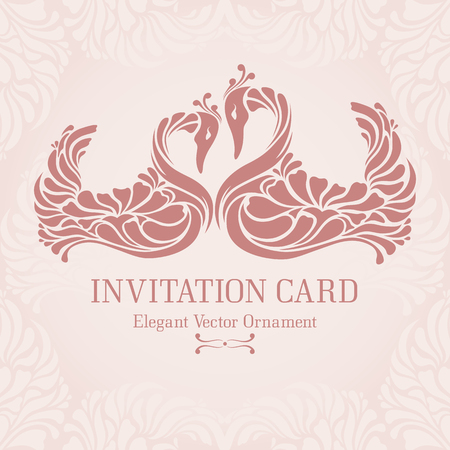 swan: Vintage pastel template with  decorative frame and two elegant swans (pink birds bending their necks in a form of heart). Ornate design for invitation, greeting card, wedding design