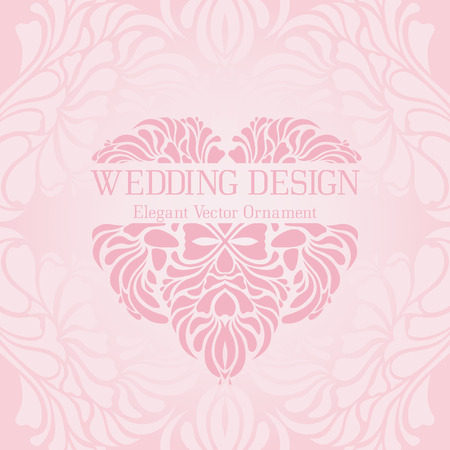 foliate: Vintage pastel template with an ornate heart (elegant ornament and soft palepink tints). Vector design for wedding invitation cards or greeting cards