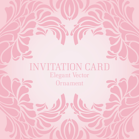 tints: Vintage pastel template with an ornate frame (elegant ornament and soft palepink tints). Vector design for wedding invitation cards or greeting cards
