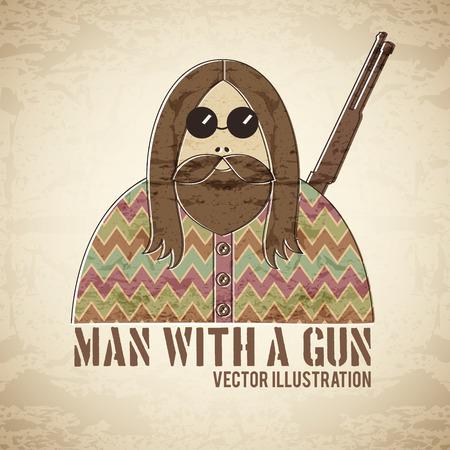 round glasses: Hombre con un arma de fuego - ilustraci�n de estilo vintage con una textura grunge. Personaje masculino divertido y exc�ntrico con el pelo largo, barba peludo y gafas redondas. Vectores