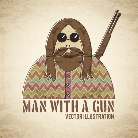 man long hair: Man with a gun - vintage style illustration with a grunge texture. Funny and eccentric male character with long hair, hairy beard and round glasses.