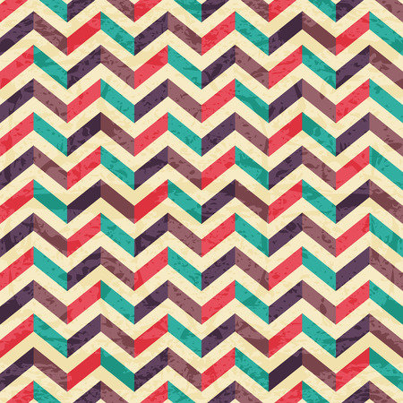 Geometric seamless pattern with colorful zigzags. Eps 10 with a grunge texture. Vintage style backdrop