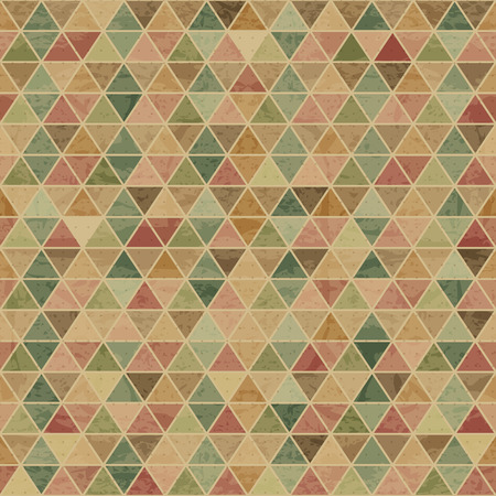 Geometric seamless pattern with desaturated colorful equilateral triangles. Eps 10 with a grunge texture. Vintage style  backdrop Illustration