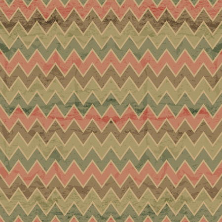 Geometric seamless pattern with desaturated colorful zigzags. Eps 10 with a grunge texture. Vintage style backdrop