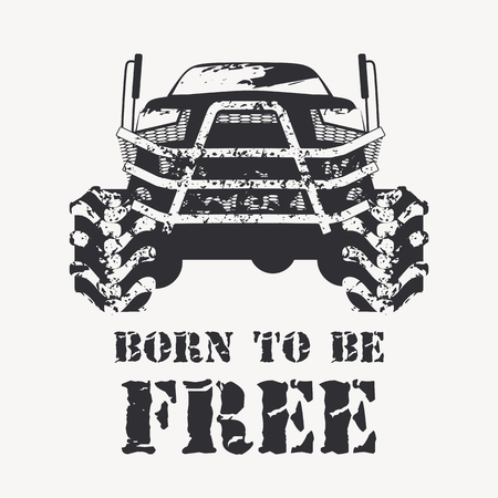 mud: Offroad vehicle in black color with with very big wheels. Monochrome illustration in a grunge style (splashes of mud) for poster, t-shirt print etc. Illustration
