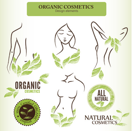 body care: Set of natural (organic) cosmetics labels, badges and stickers. Handdrawn design elements with contoured shapes and green leaves Illustration