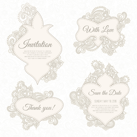 tints: Set of wedding, invitation or anniversary card templates (frames) with romantic floral background and sample text. Subtle pastel tints and elegant linear ornament.