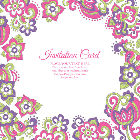 Stock vector frame  with floral ornament (bright pink and violet flowers in doodling stile). Lovely saturated colors. Card template for invitations, Valentines Day, decoration etc. Ilustrace