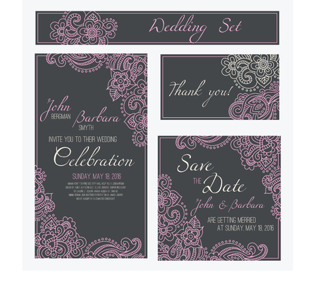 Set Of Wedding Invitation Or Anniversary Card Templates Frames