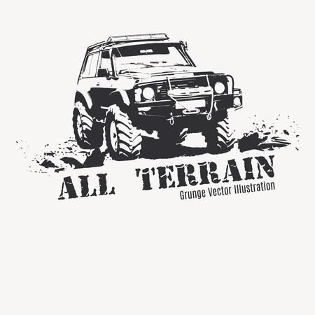 진흙 밝아진 블랙 컬러의 오프로드 차량. 포스터, 티셔츠 프린트 등 그런 지 스타일의 흑백 그림