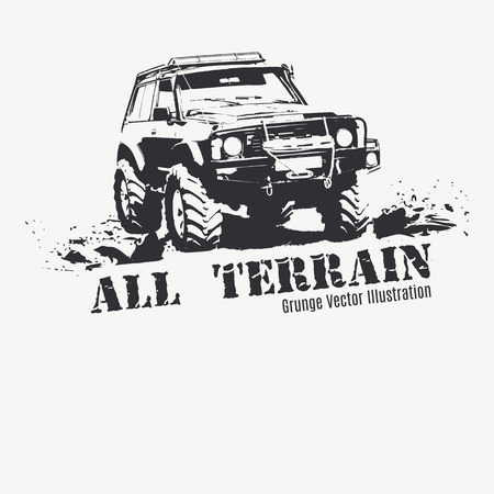 Offroad vehicle in black color with splashes of mud. Monochrome illustration in a grunge style for poster, t-shirt print etc. Illustration